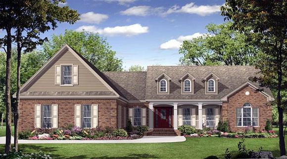 Country, European, French Country, Traditional House Plan 59140 with 3 Beds, 3 Baths, 3 Car Garage Elevation