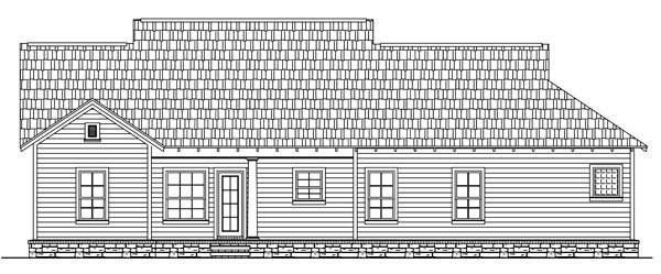 Rear Elevation of Bungalow   Craftsman   House Plan 59146