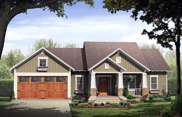 Bungalow, Craftsman House Plan 59146 with 3 Beds, 2 Baths, 2 Car Garage Elevation