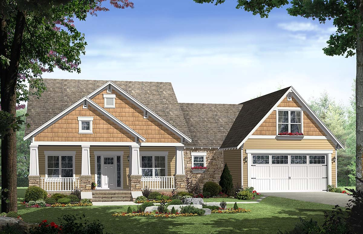 House plan 59148 at for Two car garage plans with bonus room