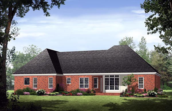European Traditional House Plan 59151 Rear Elevation