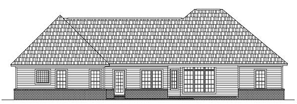 Country, European, Southern, Traditional House Plan 59152 with 3 Beds, 3 Baths, 2 Car Garage Rear Elevation
