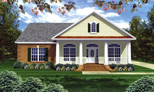 Colonial Ranch Southern Traditional House Plan 59156 Elevation