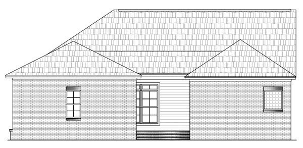 Colonial Ranch Southern Traditional House Plan 59156 Rear Elevation