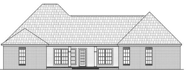 Country, European, Traditional House Plan 59175 with 4 Beds, 3 Baths, 2 Car Garage Rear Elevation