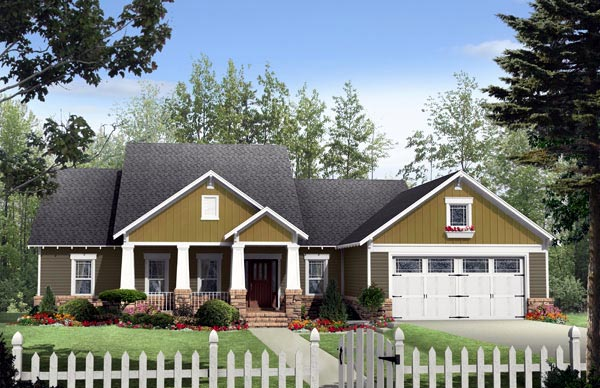 Cottage Country Craftsman House Plan 59177 Elevation