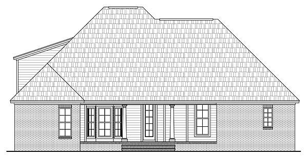 Country, European, Traditional House Plan 59184 with 3 Beds, 2 Baths, 2 Car Garage Rear Elevation