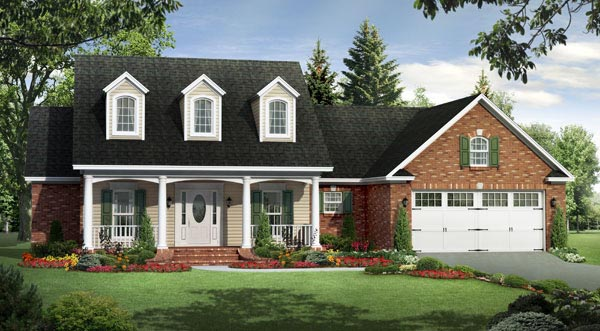 Country Farmhouse Southern Traditional House Plan 59191 Elevation