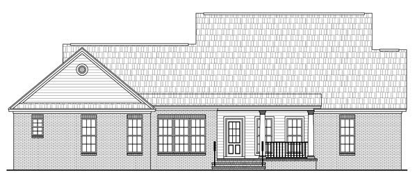 Country Farmhouse Southern Traditional House Plan 59191 Rear Elevation