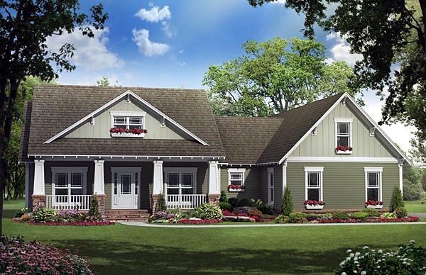 bungalow craftsman house plan 59192 elevation - Craftsman House Plans