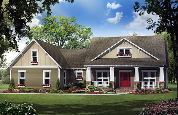 Cottage Country Craftsman Southern House Plan 59196 Elevation