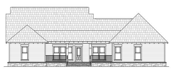 Cottage Country Craftsman Southern House Plan 59196 Rear Elevation
