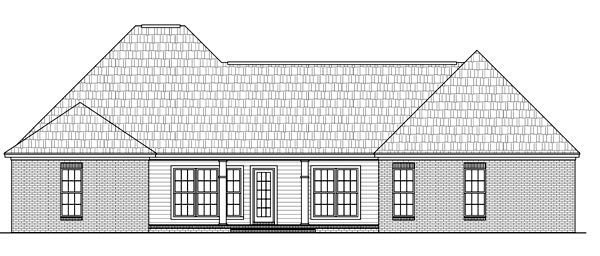 Country, European, Traditional House Plan 59197 with 4 Beds, 3 Baths, 2 Car Garage Rear Elevation