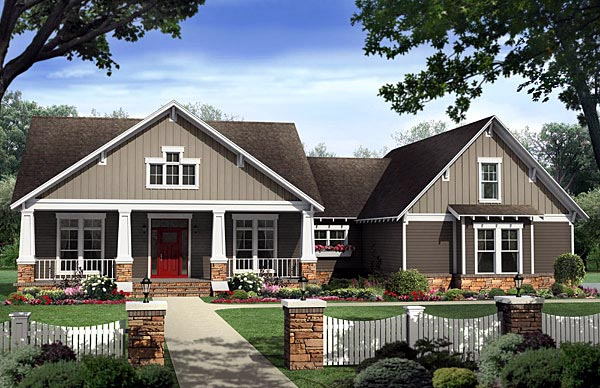 House plan 59198 at for Small craftsman house plans with garage
