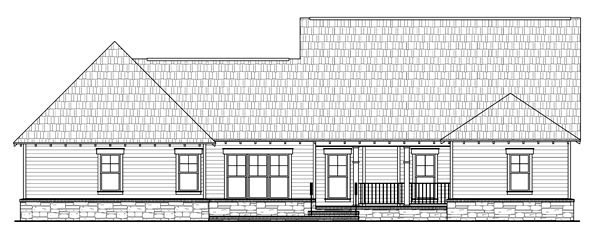 Bungalow Country Craftsman House Plan 59198 Rear Elevation