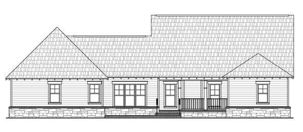 Bungalow Craftsman House Plan 59206 Rear Elevation