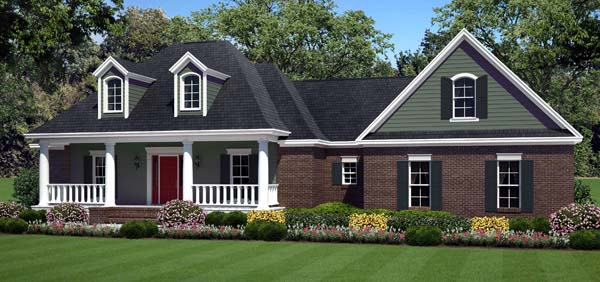 Country Farmhouse Southern Traditional House Plan 59211 Elevation