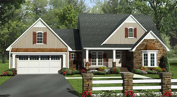 Craftsman European French Country Southern Traditional House Plan 59213 Elevation