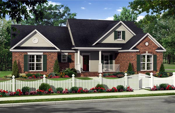 Country Farmhouse Traditional House Plan 59225 Elevation