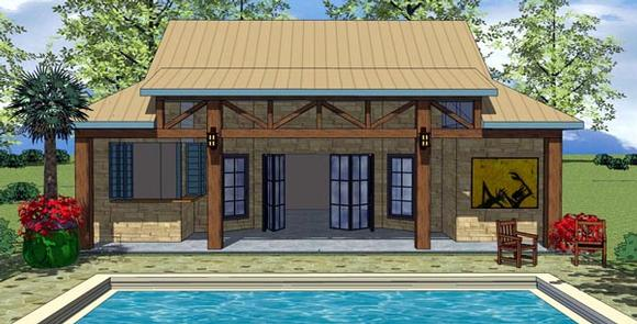 Cottage, Craftsman House Plan 59310 with 1 Beds, 1 Baths Elevation