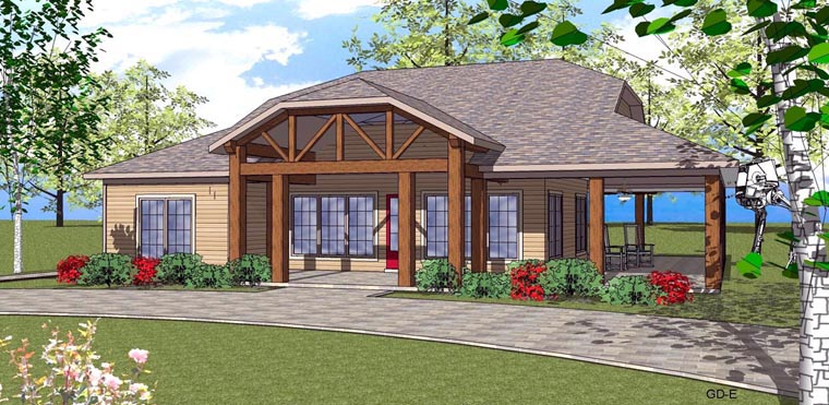 Coastal , Southern House Plan 59394 with 2 Beds, 2 Baths Elevation
