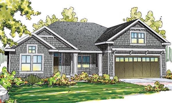 Cape Cod Cottage Craftsman Ranch House Plan 59404 Elevation