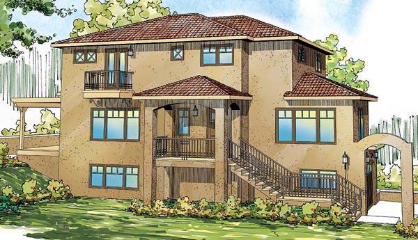 European, Mediterranean, Southwest House Plan 59406 with 3 Beds, 3 Baths, 2 Car Garage Elevation