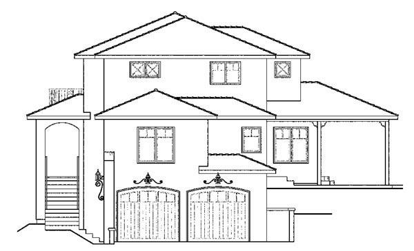 European, Mediterranean, Southwest House Plan 59406 with 3 Beds, 3 Baths, 2 Car Garage Picture 2