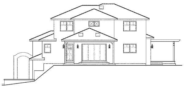 European, Mediterranean, Southwest House Plan 59406 with 3 Beds, 3 Baths, 2 Car Garage Rear Elevation