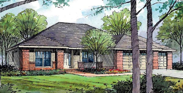European Ranch Traditional House Plan 59407 Elevation
