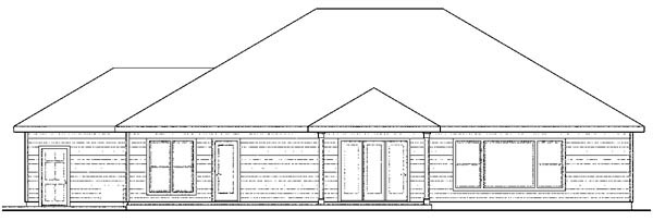 European Ranch Traditional House Plan 59407 Rear Elevation