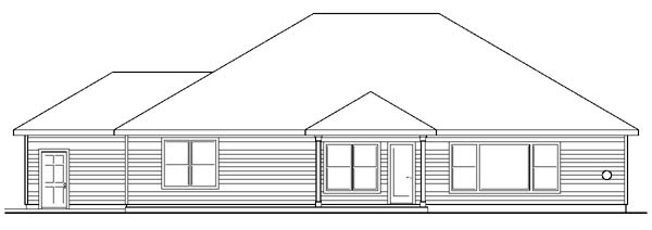 European Ranch Traditional House Plan 59408 Rear Elevation
