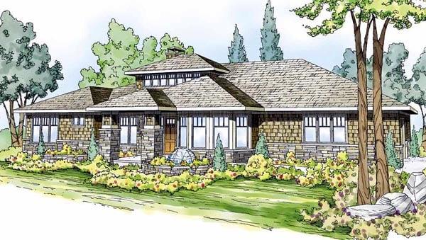 Contemporary Craftsman Prairie Style Southwest House Plan 59410 Elevation