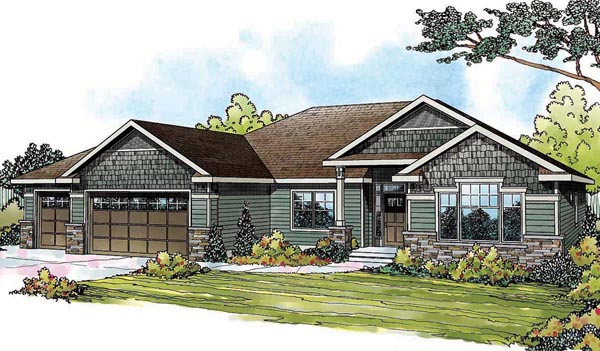 Craftsman European Ranch Traditional House Plan 59423 Elevation