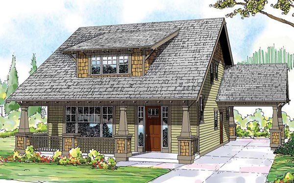bungalow cape cod cottage country craftsman house plan 59430 elevation - Cape Cod Craftsman
