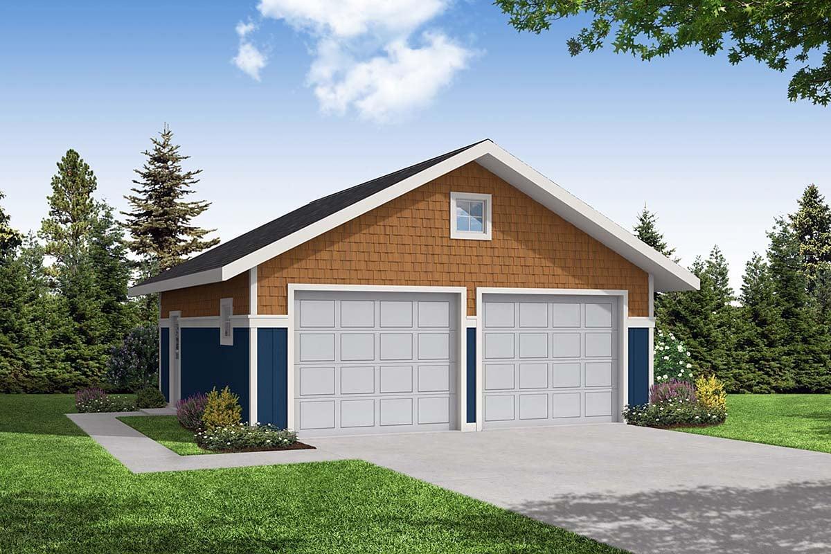 Craftsman 2 Car Garage Plan 59442 Elevation