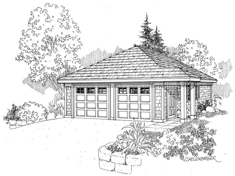 Craftsman, Traditional 2 Car Garage Plan 59445 Elevation