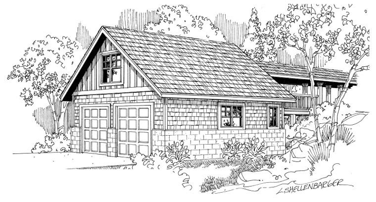 Cottage, Craftsman, Traditional 2 Car Garage Plan 59450 Elevation