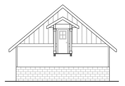 Cottage Craftsman Traditional Rear Elevation of Plan 59450