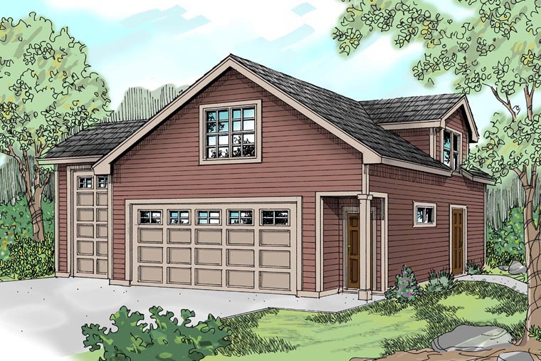 Elevation of Country   Craftsman   Traditional   Garage Plan 59452