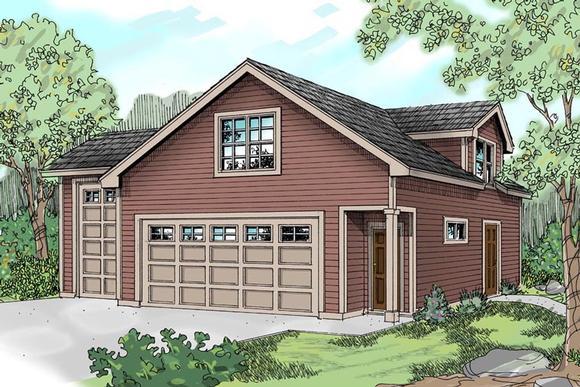 Country, Craftsman, Traditional 3 Car Garage Apartment Plan 59452, RV Storage Elevation