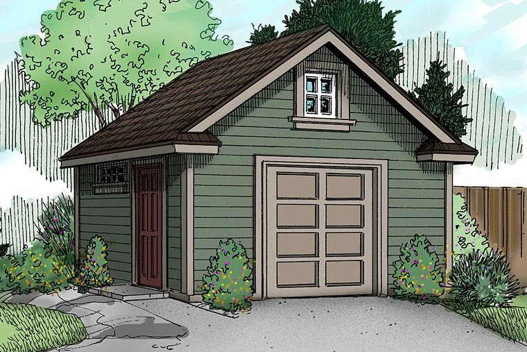 Garage plan 59454 at for Craftsman style shed plans