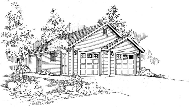 Traditional 2 Car Garage Plan 59462 Elevation