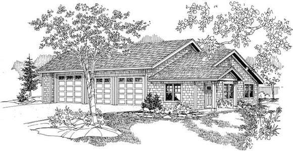 Craftsman 3 Car Garage Plan 59464 Elevation