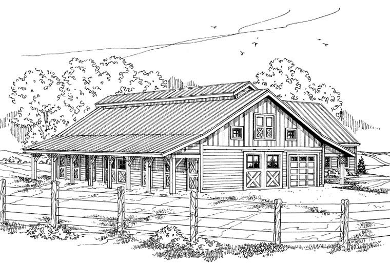 Country Garage Plan 59467 Elevation