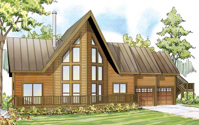 a frame cabin contemporary cottage house plan 59495 elevation - A Frame House Plans