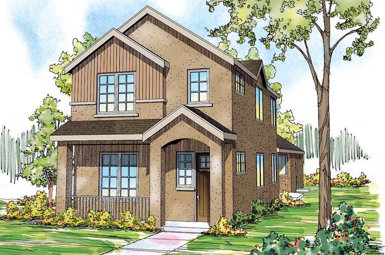 Contemporary, Florida, Mediterranean, Southwest House Plan 59496 with 3 Beds, 3 Baths, 2 Car Garage Elevation