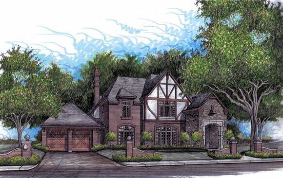 European, Traditional, Tudor House Plan 59504 with 4 Beds, 4 Baths, 2 Car Garage Elevation