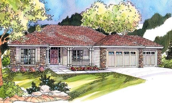 Contemporary European Ranch House Plan 59701 Elevation