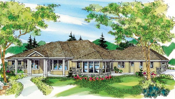 Colonial, Country, European, Florida, Ranch House Plan 59717 with 3 Beds, 3 Baths, 3 Car Garage Elevation